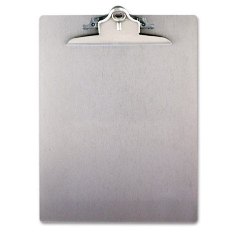 """Saunders Aluminum Clipboard with 1"""" Capacity Clip, Holds 8 1/2 x 12 , Silver"""