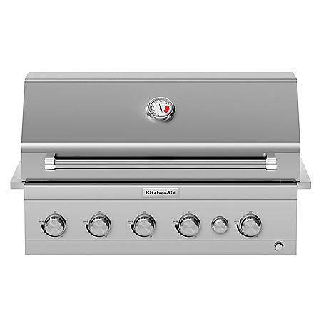KitchenAid 4-Burner Built-in Propane Gas Island Grill Head in Stainless Steel with Searing and Rotisserie Burner