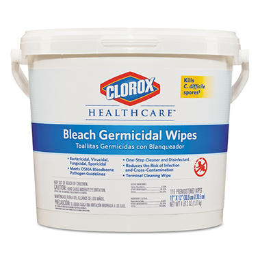 Clorox Healthcare - Germicidal Wipes, 12 x 12, Unscented -  110/Canister