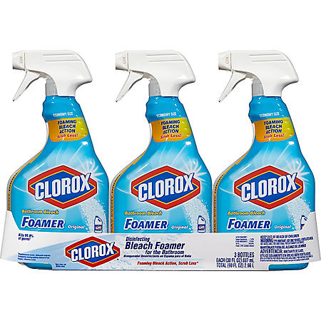 Clorox Bathroom Foamer with Bleach, Spray Bottle, Original (30 oz. bottles, 3 pk.)