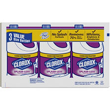 Clorox Splash-Less Bleach, Fresh Meadow Scent, 116 Fluid Ounces, 3 pk.