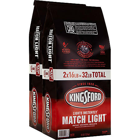 Kingsford Match Light Instant Charcoal Briquettes, BBQ Charcoal for Grilling (16 lbs. each, 2 pk.)