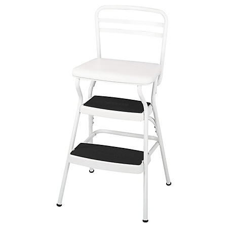 Cosco Retro Chair and Step Stool with Lift-Up Seat - White