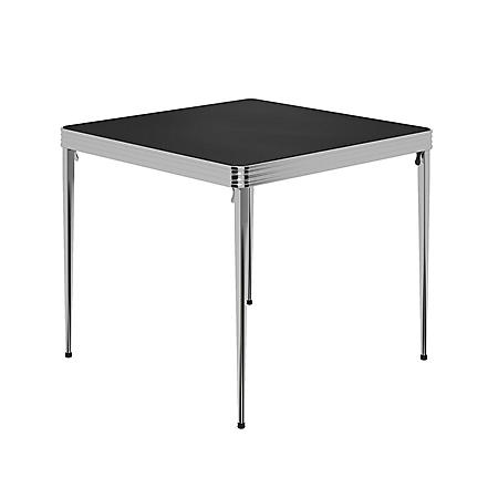 "COSCO Stylaire 32"" Square Vinyl Top Folding Table, Silver & Black"