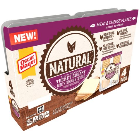 Oscar Mayer Natural Slow Roasted Turkey Breast and White Cheddar Plates (3.3 oz. trays, 4 pk.)
