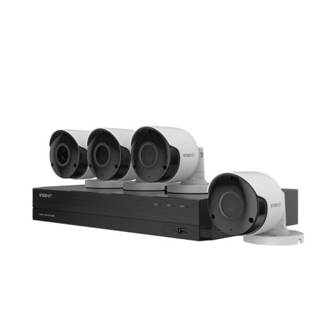 Wisenet 8-Channel 5MP DVR Surveillance System with 1TB Hard Drive, 4-Camera 5MP  Indoor/Outdoor Cameras