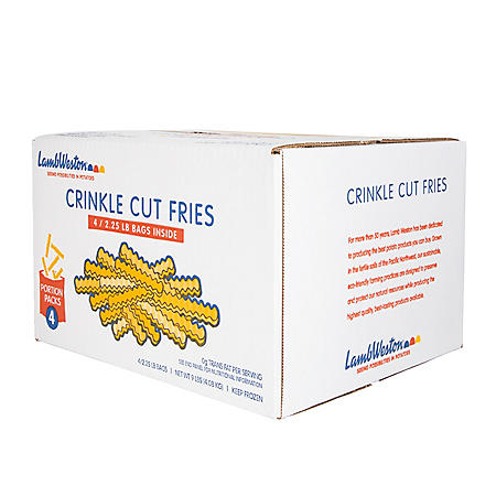 Lamb Weston Frozen Crinkle Cut Fries, Bulk Wholesale Case (9 lbs.)