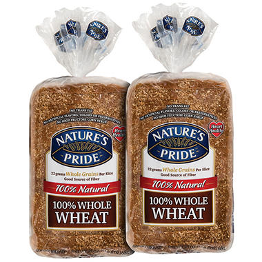 Nature's Pride® 100% Whole Wheat Bread - 24 oz. - 2 pk.