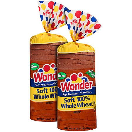 Wonder® Soft 100% Whole Wheat Bread - 16 oz. - 2 pk.