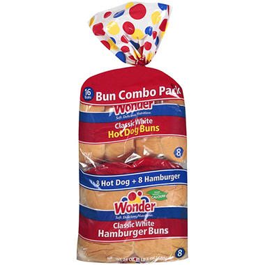 Wonder?  Bun Combo Pack - 8 Hot Dog & 8 Hamburger Buns