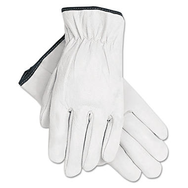Memphis Full-Grain Goatskin Driver Gloves, White, X-Large (Pack of 12)