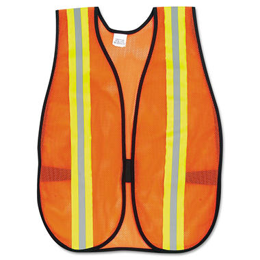 MCR Safety Orange Polyester Safety Vest with Reflective Strips