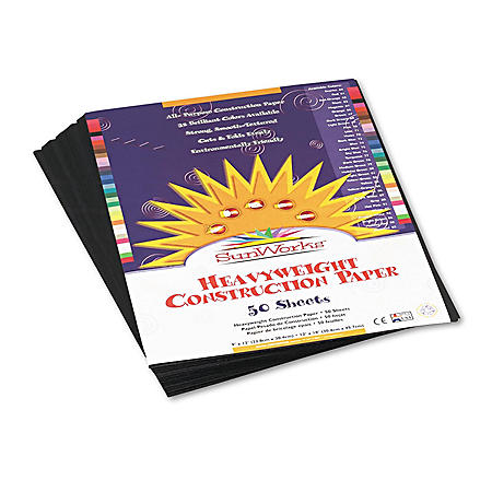 Pacon - Construction Paper, 58 lbs., 9 x 12, Black, 50 Sheets per Pack