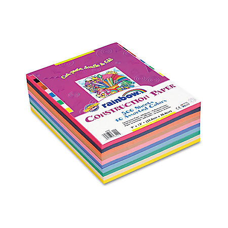 Pacon - Rainbow Super Value Construction Paper Ream, 45 lb, 9 x 12, Assorted -  500 Sheets
