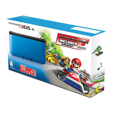 3DS XL Blue with Mario Kart 7