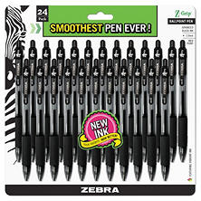 Zebra - Z-Grip Retractable Ballpoint Pen, Black Ink, Medium -  24/Pack
