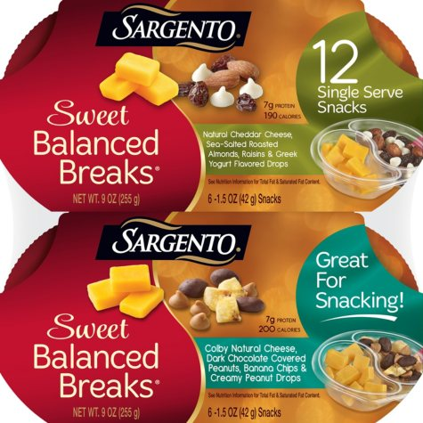 Sargento Sweet Balanced Breaks Snacks, Variety Pack (12 ct.)