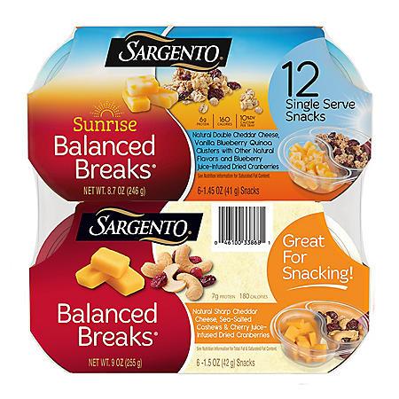 Sargento Sunrise & Original Balanced Breaks Single Serve Variety Pack (12 ct.)