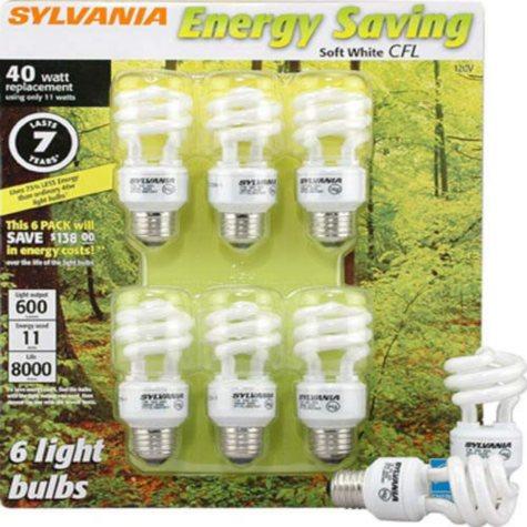 SYLVANIA Energy Saving 40W equivalent - 6pk
