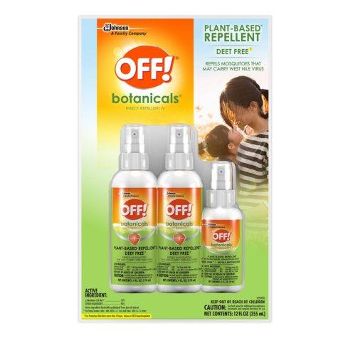 OFF! Botanicals Insect Repellent, 2 x 4 oz. + 1 x 2 oz. Spritz