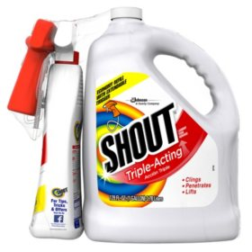 Shout Stain Remover with Extendable Trigger Hose (128 oz. + 22 oz.)