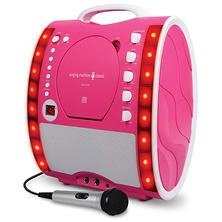 Singing Machine SML343P Portable CD + G Karaoke System with LED Disco Lights and Microphone
