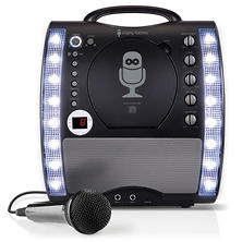 The Singing Machine SML343BTBK Portable CDG + Bluetooth Karaoke System with LED Disco Lights and Microphone
