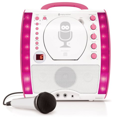 The Singing Machine SML343BTP Portable CDG + Bluetooth Karaoke System with LED Disco Lights and Microphone