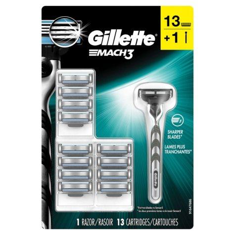 Gillette Mach3 Men's Razor, Handle + 13 Blade Refills
