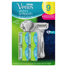 Venus Extra Smooth Platinum Razor, Handle + 9 Blade Refills + Razor Case