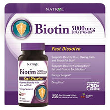 Natrol Biotin 5000mcg Extra Strength, Cherry Flavor (250 Tablets)