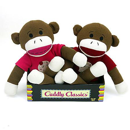 2 pk. Cuddly Classic Sock Animal - Monkeys