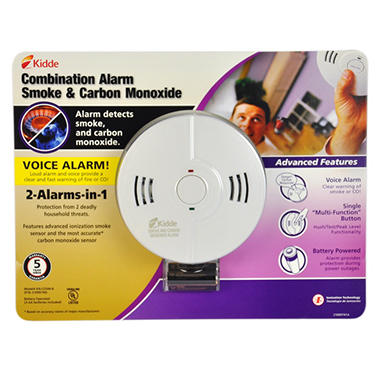 Battery-powered Combination Smoke and Carbon Monoxide Alarm with Voice Alert