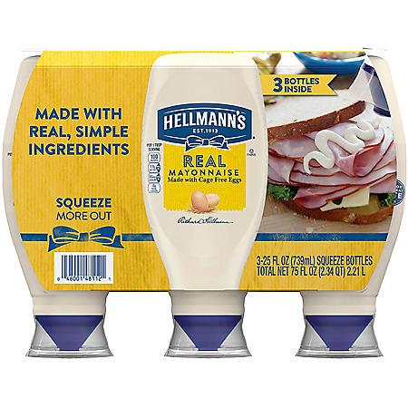 Hellmann's Real Mayonnaise (25 oz., 3 pk.)