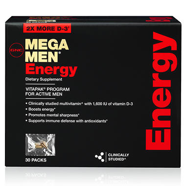 GNC Mega Men Energy Vitapaks - 30 ct.