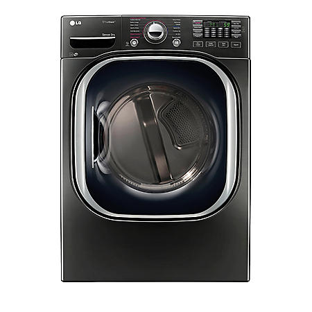 LG - 7.4 cu. ft. Ultra-Large Capacity TurboSteam Gas Dryer - DLGX4371K Black Stainless Steel