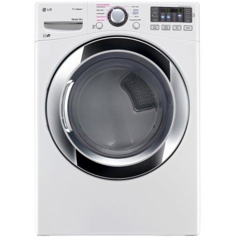 LG - 7.4 cu. ft. Ultra-Large Capacity SteamDryer with NFC Tag-On Technology - DLEX3370W White