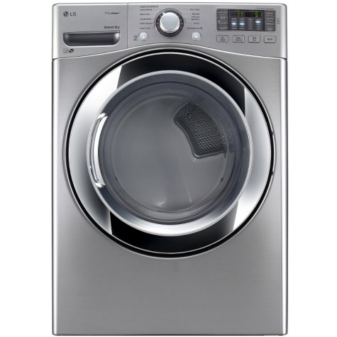 LG - 7.4 cu. ft. Ultra-Large Capacity SteamDryer with NFC Tag-On Technology - DLEX3370V Graphite Steel