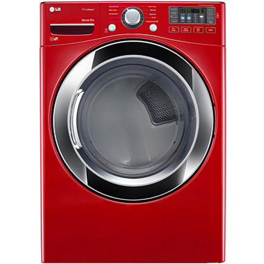 LG 7.4 cu. ft. Ultra-Large Capacity SteamDryer with NFC Tag-On Technology - DLEX3370R Wild Cherry Red