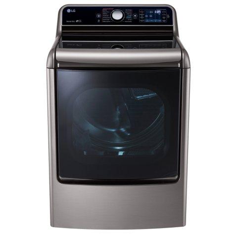 LG - 9.0 cu. ft. Mega-Large-Capacity TurboSteam Dryer with EasyLoad Door - DLEX7700VE Graphite Steel