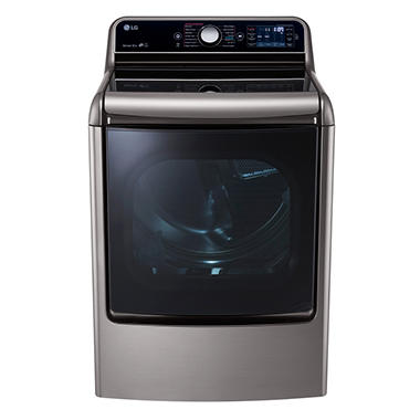 LG 9.0 cu. ft. Mega-Large-Capacity TurboSteam Gas Dryer with EasyLoad Door - DLGX7701VE Graphite Steel