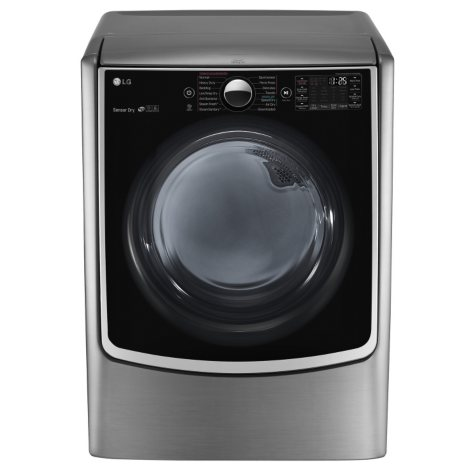 LG - 7.4 cu.ft. Ultra-Large Capacity TurboSteam Gas Dryer with On-Door Control Panel - DLGX5001V Graphite Steel