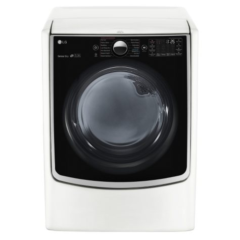 LG - 7.4 cu.ft. Ultra-Large Capacity TurboSteam Gas Dryer with On-Door Control Panel - DLGX5001W White