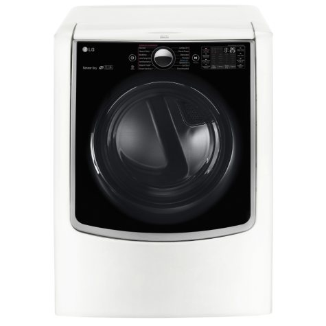 LG 9.0 cu.ft. Mega-Capacity TurboSteam Electric Dryer with On-Door Control Panel DLEX9000W  White
