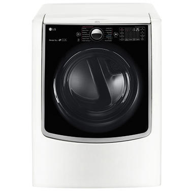 LG 9.0 cu.ft. Mega-Capacity TurboSteam Gas Dryer with On-Door Control Panel - DLGX9001W White