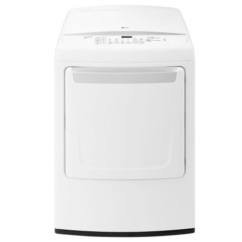 LG - 7.3 cu. ft. Ultra-Large Capacity High-Efficiency Front-Control Dryer with NFC Tag-On Technology - DLE1501W White