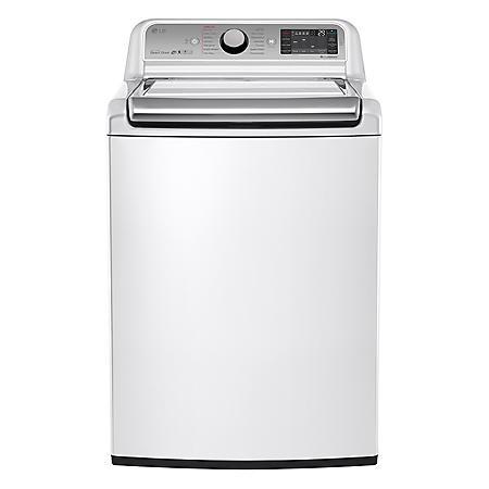 LG - 5.2 cu. ft. Mega-Capacity Top-Load Washer with Turbowash Technology - WT7600HWA White