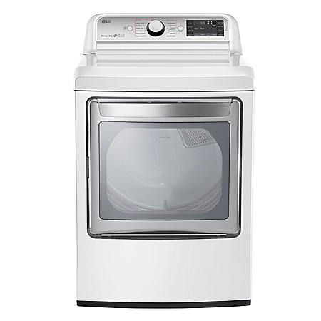 LG - 7.3 cu. ft. Ultra-Large Capacity TurboSteam Electric Dryer with LG EasyLoad Door - DLEX7600WE White