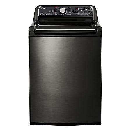 LG - 5.2 cu. ft. Mega-Capacity Top-Load Washer with Turbowash Technology - WT7600HKA Black Stainless Steel