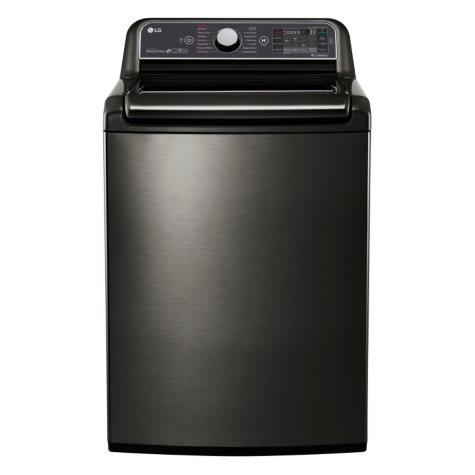 LG 5.2 cu. ft. Mega-Capacity Top-Load Washer with Turbowash Technology - WT7600HKA Black Stainless Steel
